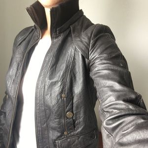 Leather moto Bomber